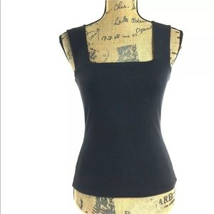 Cache Top Small Black Tank Shell Stretch Square